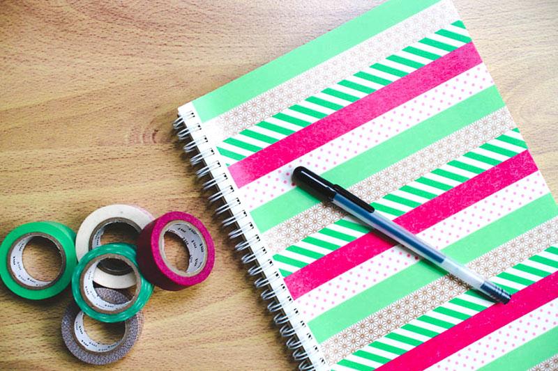 Caderno personalizado com Washi Tape