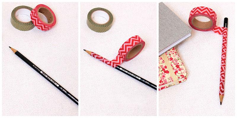 Lápis personalizado com Washi Tape - fita adesiva