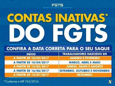 Calendário 2017 - Contas Inativas do FGTS