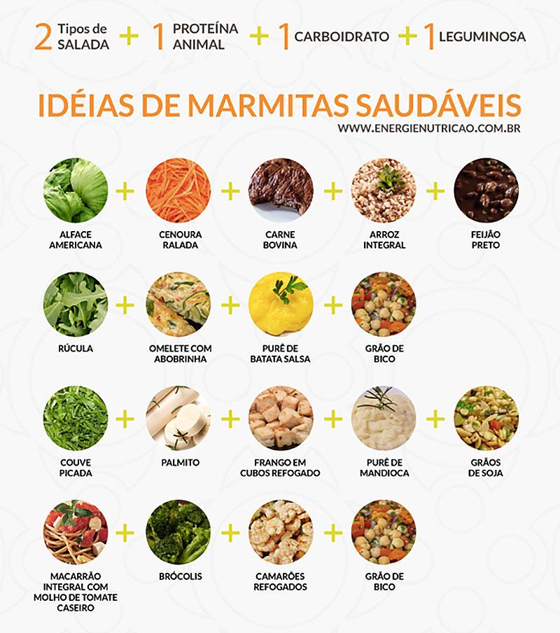 Alimentos variados para montar a sua refeição