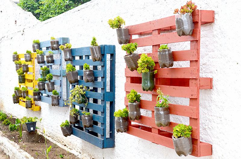 Mini horta em garrafas pet e paletes