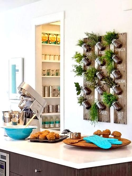 Mini horta com potes de conserva na parede