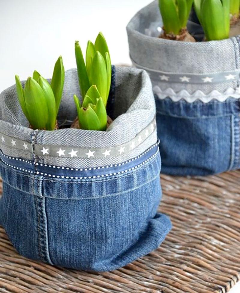 Cachepot feito com Jeans
