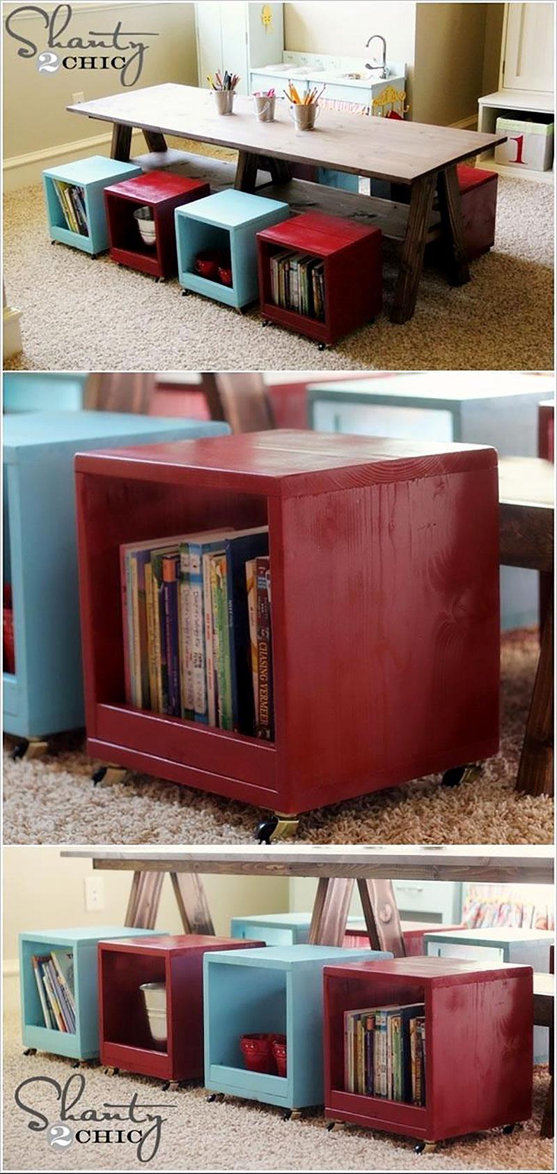Bancos para organizar livros no quarto dos filhos