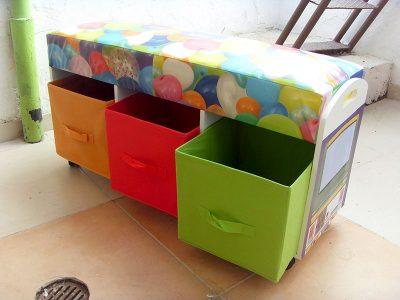 Baú com gaveta criativo para quarto infantil
