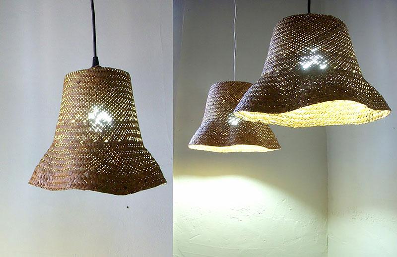 Luminária feito com Chapéu de palha feminino