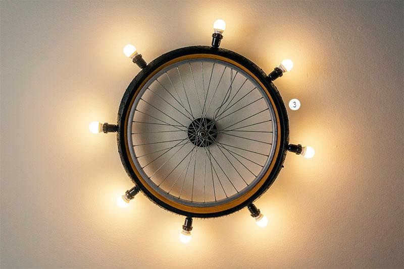 Luminária com Pneu de bicicleta