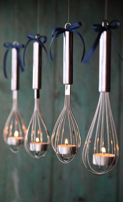 Luminárias feitas com batedores