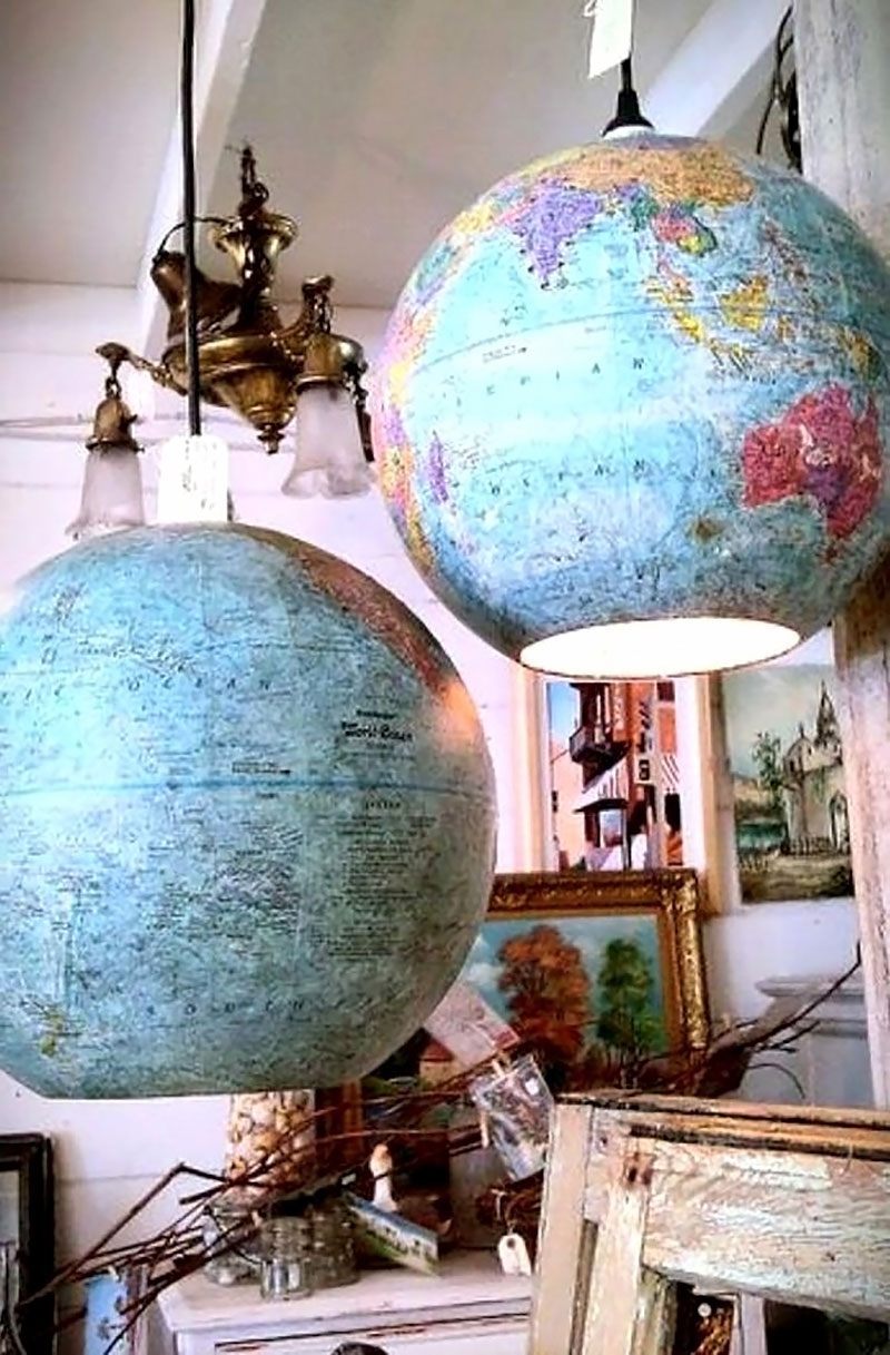 Os lustres de globo terrestre