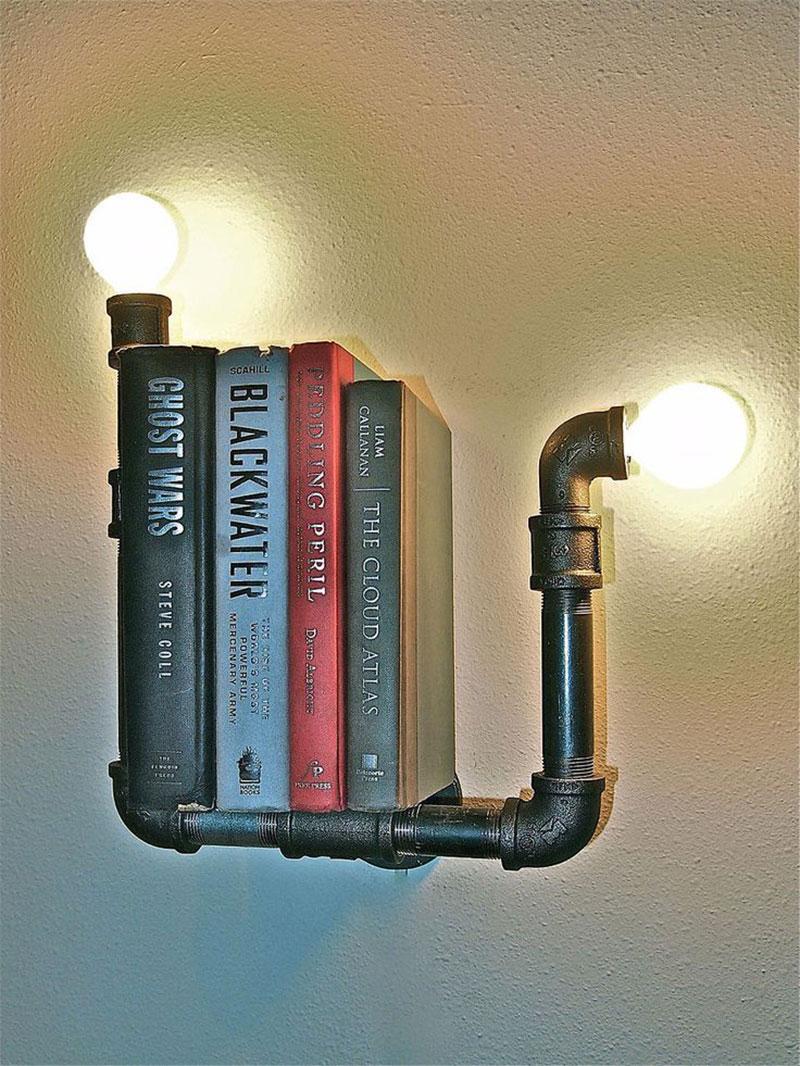 Luminária prateleira feito com canos