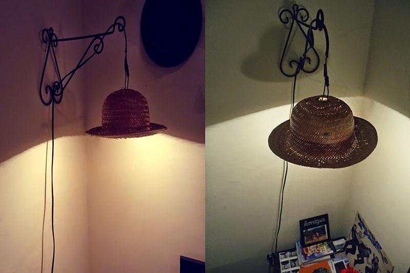 Luminária feito com Chapéu de palha