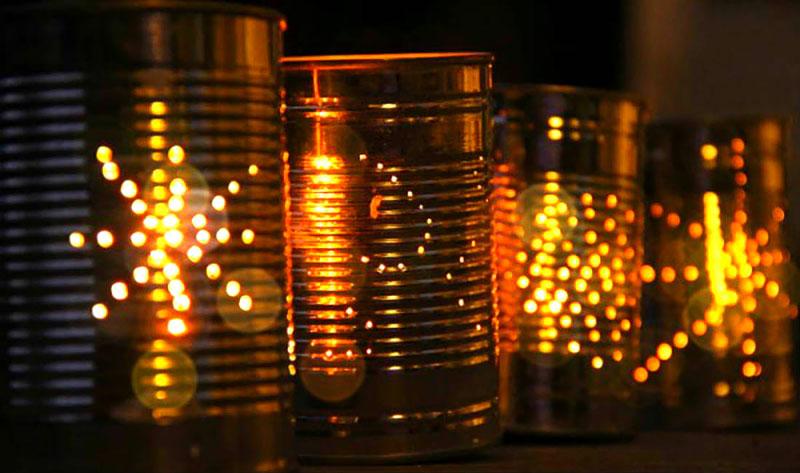 Luminárias feito com latas
