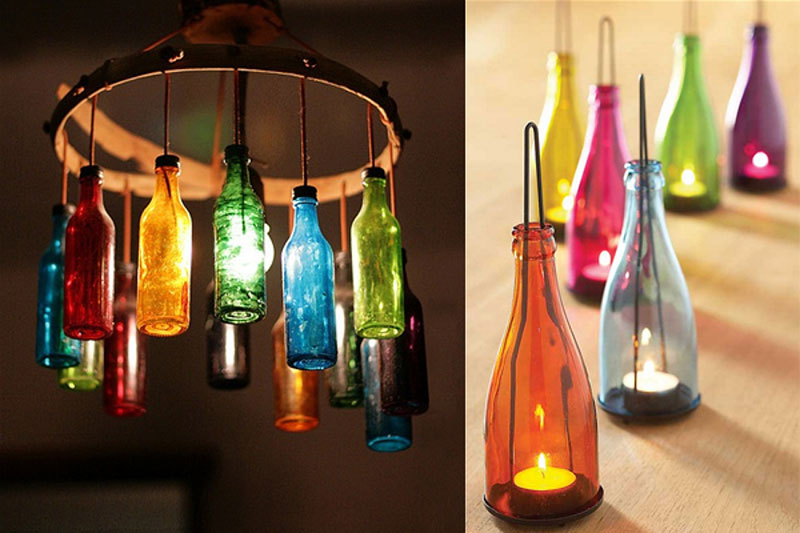 Lustres ou luminárias de mesa coloridas