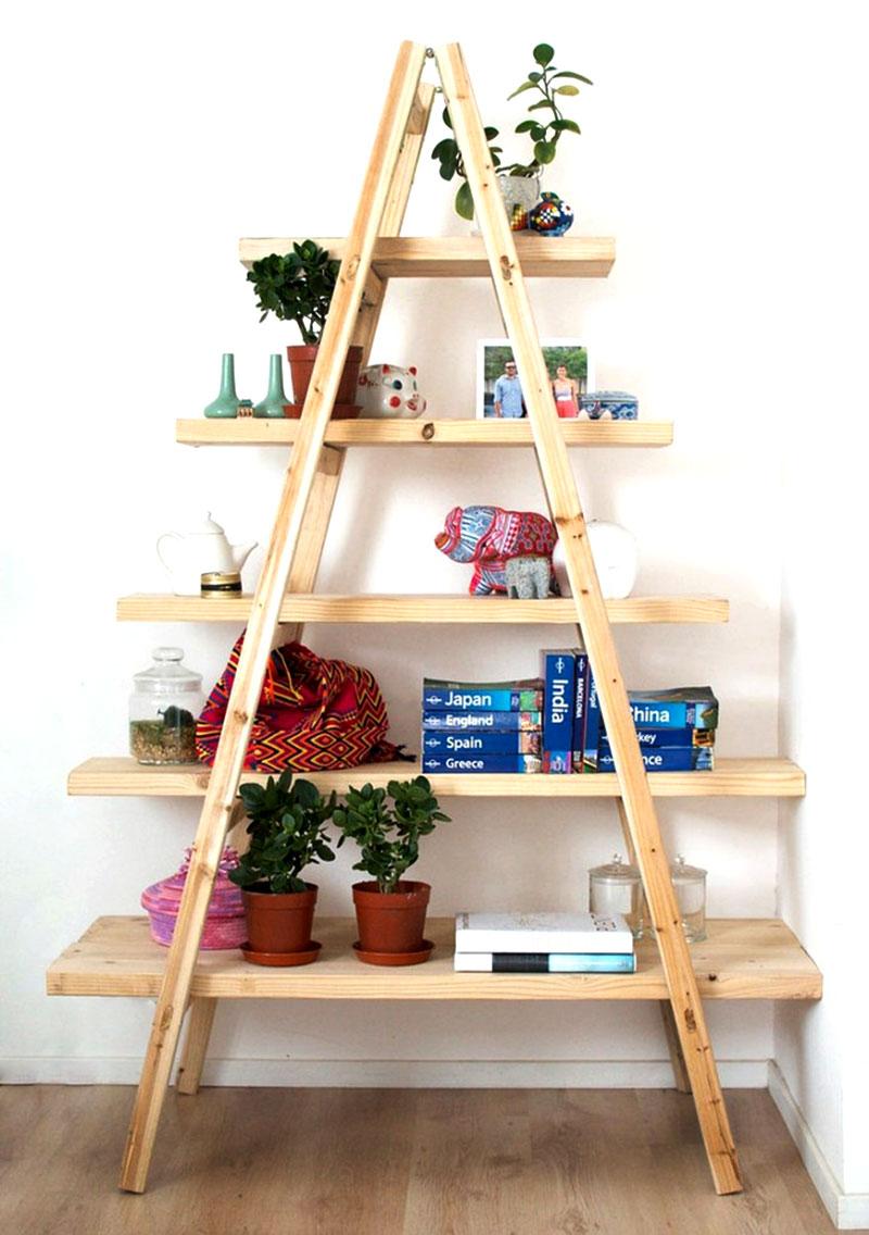 28 ideias de prateleiras criativas e inusitadas para sua - Escaleras de madera adorno ...