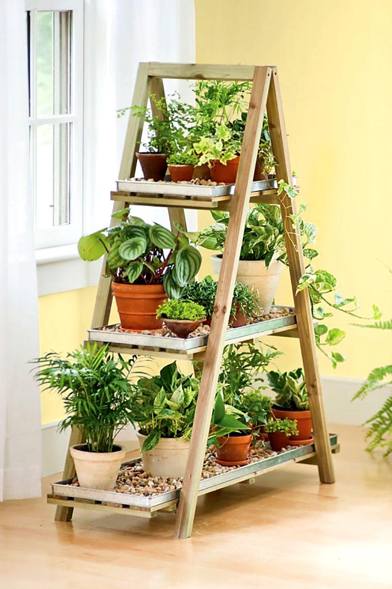 Prateleira e minijardim urbano feito com escada