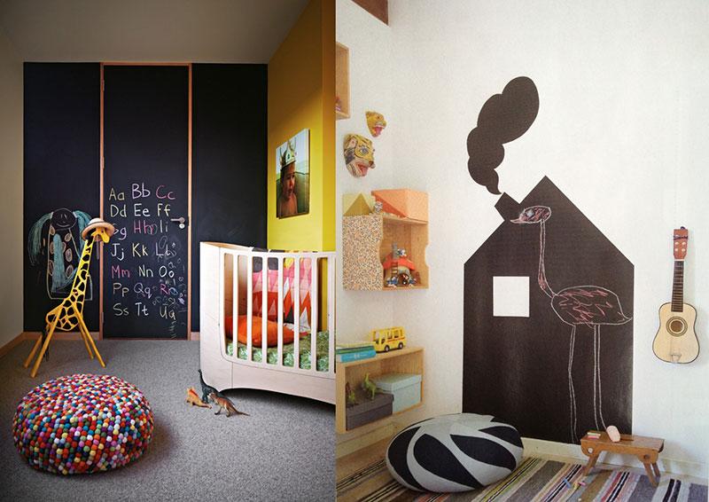 Quadro negro criativo para quarto das crianças