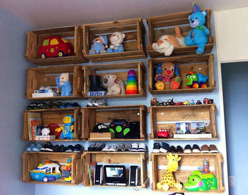 Quarto infantil e decoração com caixotes