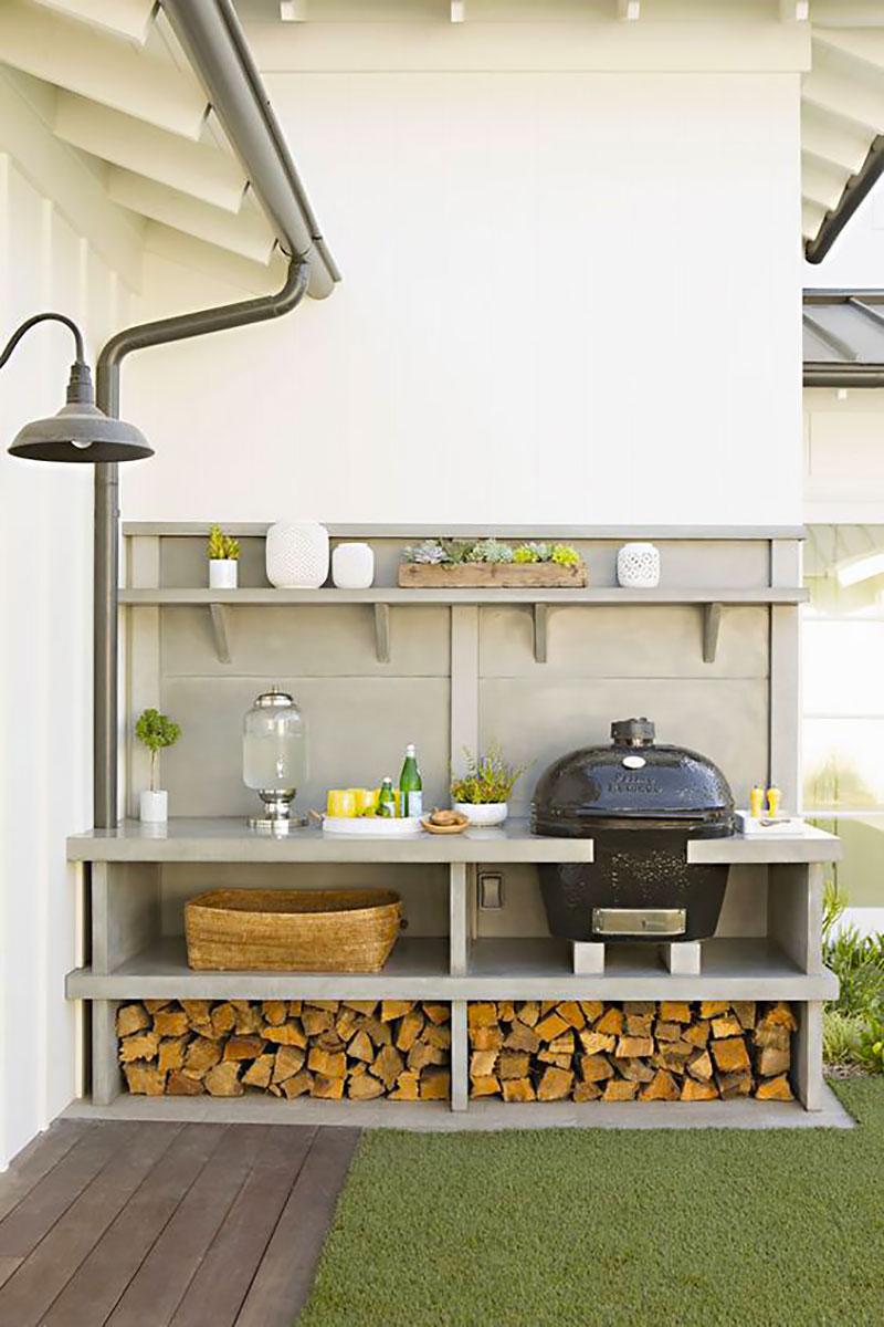 Área de lazer moderna com churrasqueira