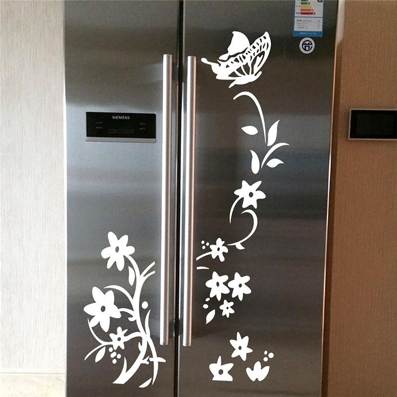 Geladeira - borboleta e Flores Brancas