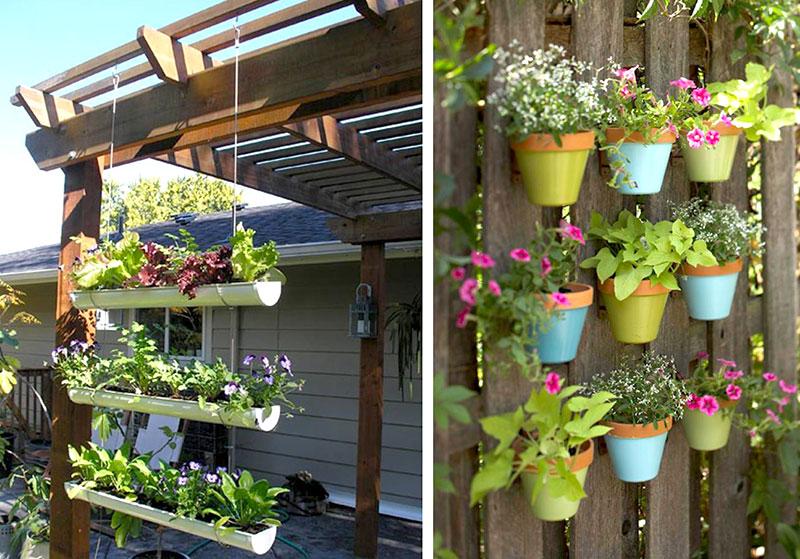 Plantas e vasos de flores podem ser suspensos ou fixados na parede