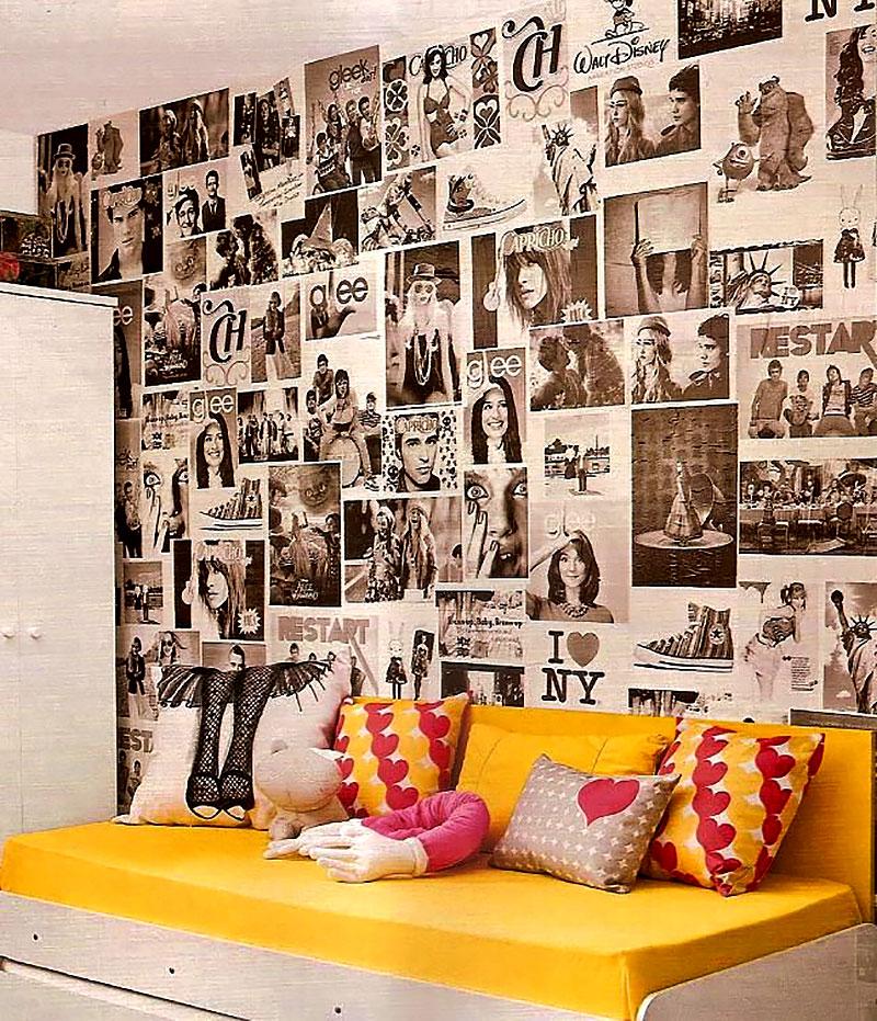Parede decorada com folha de jornal, revista e posters