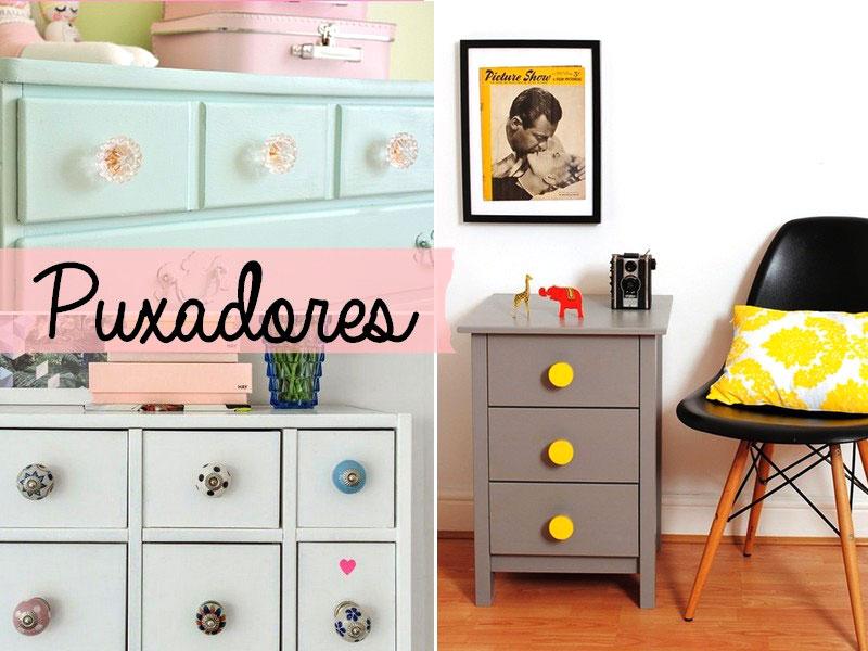 Puxadores coloridos para gavetas reformadas