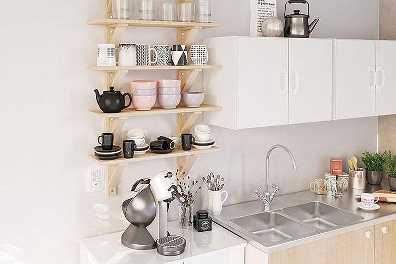 Espaço para o café, decoração clean