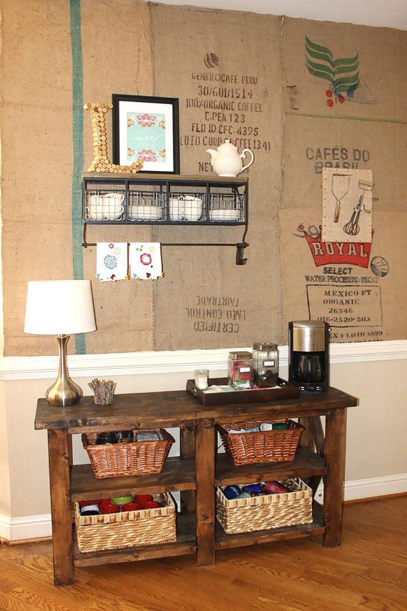 Parede decorada para o cantinho do café