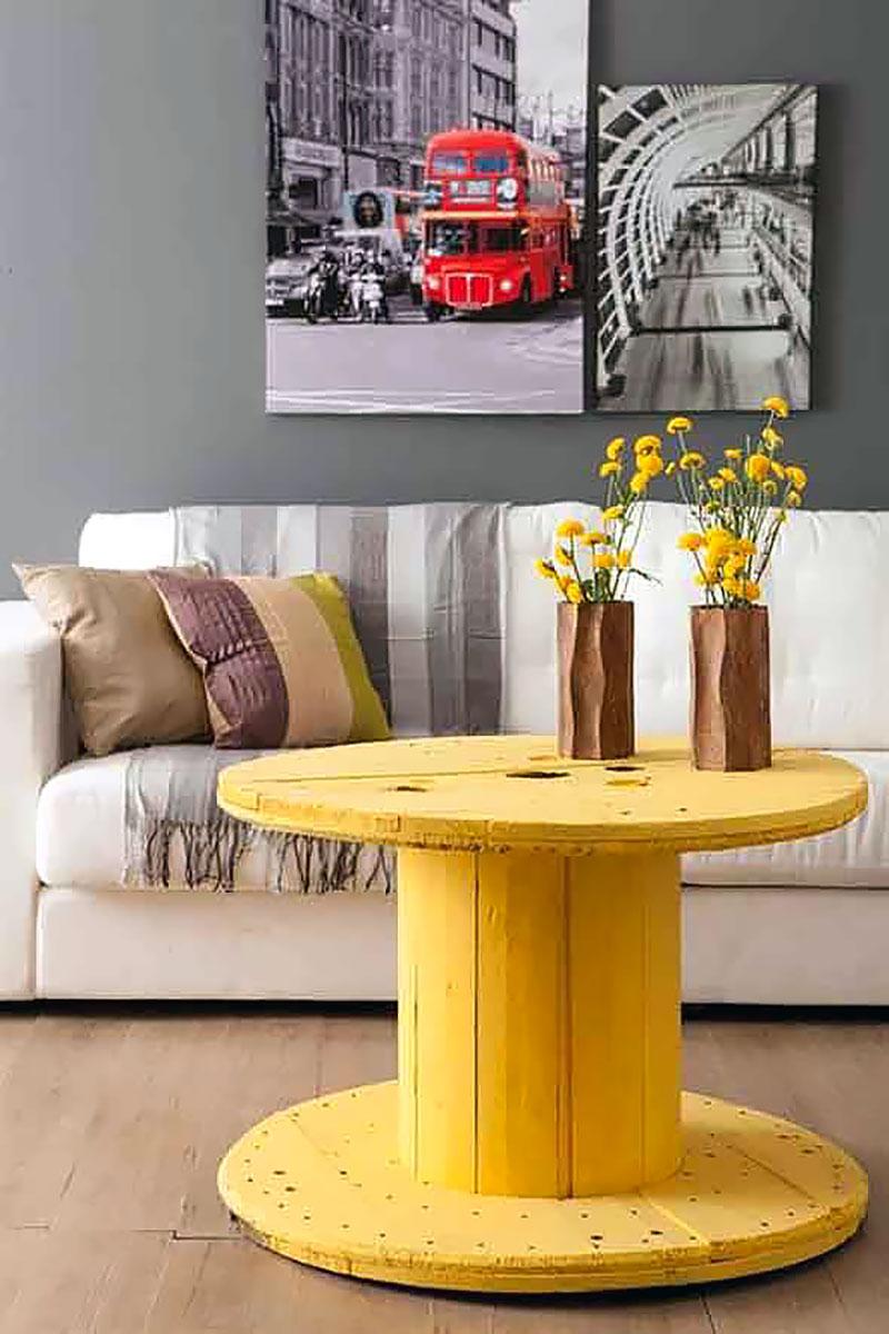 DIY: Mesa feita com Carretel de Madeira