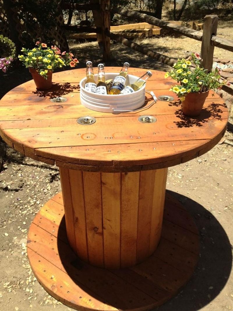 DIY: Mesa feito com Carretel e suporte para Cervejas