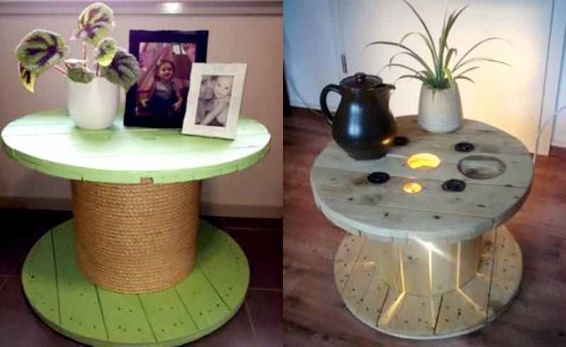 DIY: Mesa feito com carretel de madeira