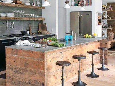 Bancada em madeira para cozinha americana