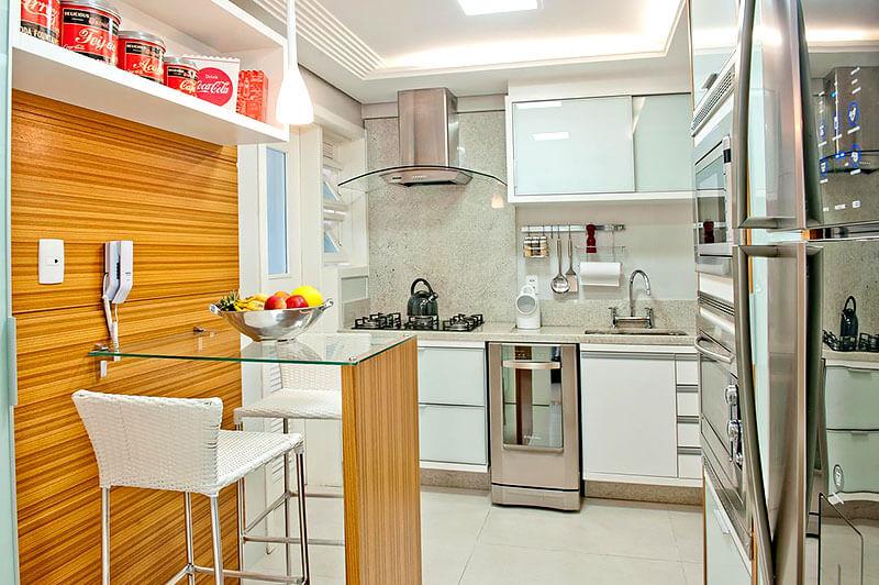 Bancada pequena e moderna para cozinha