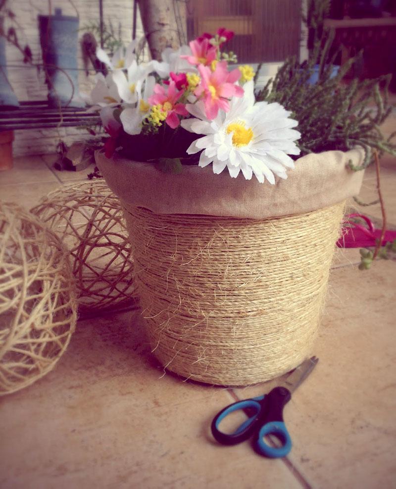 Cachepot para flor feito com corda sisal