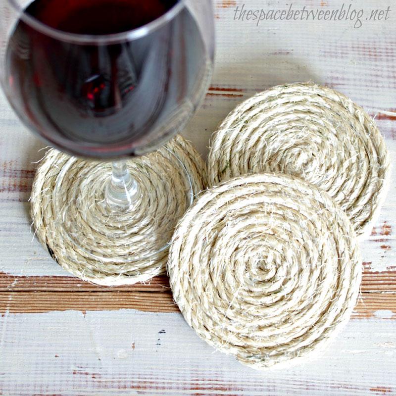 Porta Copos para vinho feito com Sisal
