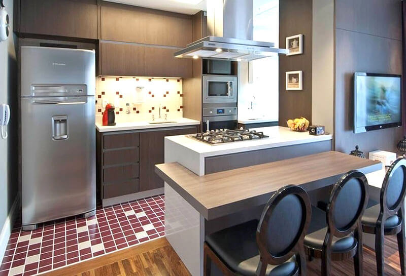Mesa, cadeiras e banquetas para cozinha americana