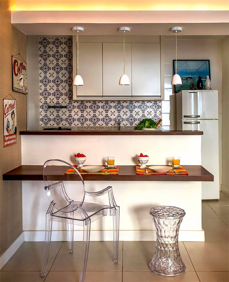 8 Dicas Para Montar E Decorar A Cozinha Americana Hf Urbanismo ~ Armario De Cozinha Bancada Acozinha Americana Decorada