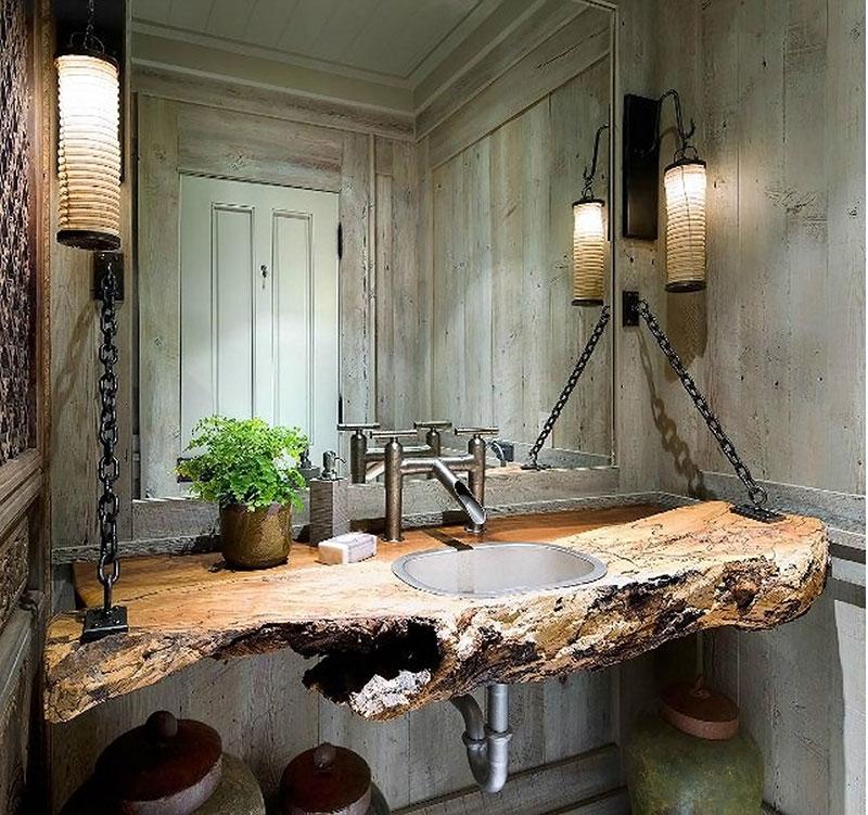 Bancada para Banheiro em Madeira Rústica