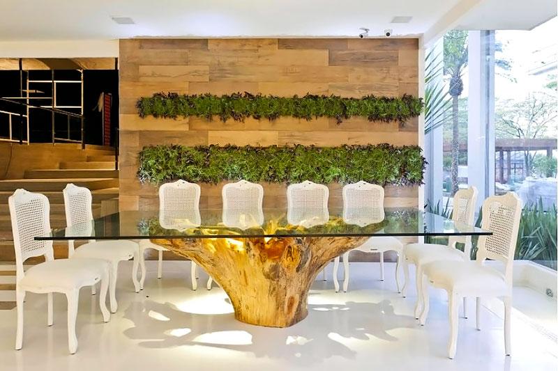 Base para mesa feito com tronco de madeira