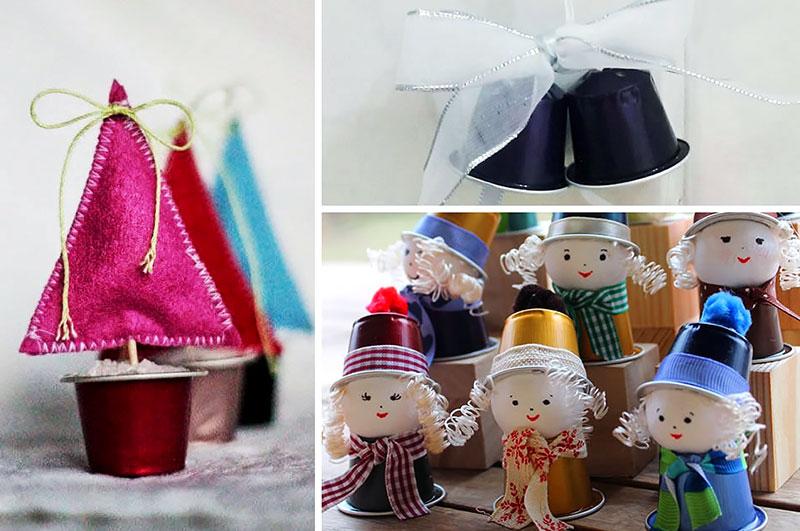 Enfeites de Natal feito com Cápsula de Café